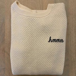 Madewell Button Back Knit Sweater, Cream, Size S
